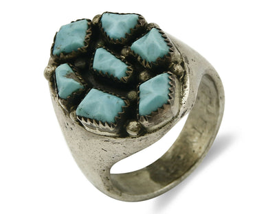ZUNI Ring .925 SOLID Silver Sleeping Beauty Turquoise LEEKITY C.1980's