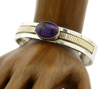 Women's Navajo William Denetdale Bracelet .925 Silver & 14k Gold C.1980's