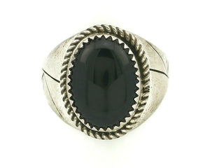 Women's Navajo Ring .925 SOLID Silver Hand Stamped Black Onyx Circa 1980's