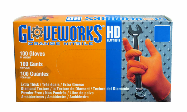 Gloveworks HD Orange Nitrile Gloves-Case of 1000 Gloves