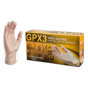 GPX3 Clear Vinyl Industrial Disposable Gloves-Box of 100 Gloves