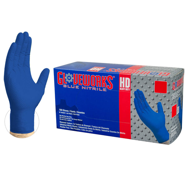 Gloveworks HD Royal Blue  Nitrile Latex Free Disposable Gloves-Box of 100 Gloves