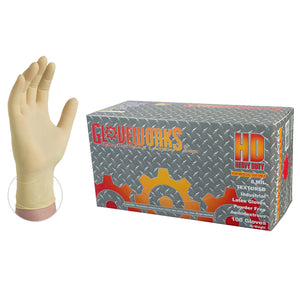 Gloveworks HD Latex Gloves-Box of 100 Gloves