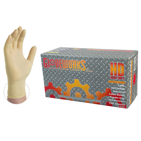 Gloveworks HD Latex Gloves-Case of 1000 Gloves