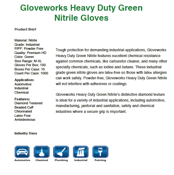 Gloveworks HD Green Nitrile Gloves-Box of 100 Gloves