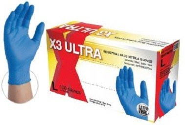X3 Ultra Nitrile Powder Free Disposable Gloves-Box of 100 Gloves