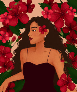 """The Most Resilient Hibiscus"" Wood Framed Illustration"