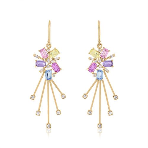Sparkler Earrings with Multi Colored Sapphire