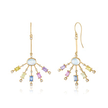 LINEAR EARRINGS WITH MOONSTONE AND MULTICOLORED SAPPHIRES