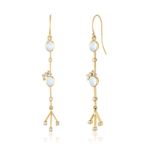 Moonstone and Diamond Linear Earrings