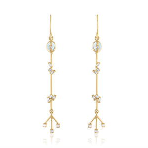 Confetti Linear Earrings with Moonstone, Diamonds And 14k Gold