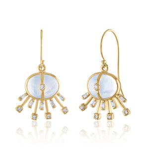 Single Drop Moonstone and Diamond Earrings