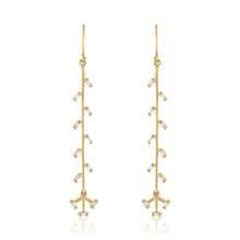 Confetti Linear Earrings with Diamonds & 14k Gold