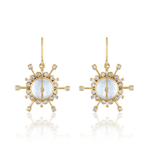Confetti Single Drop Earrings with Moonstone, Diamonds & 14k Gold