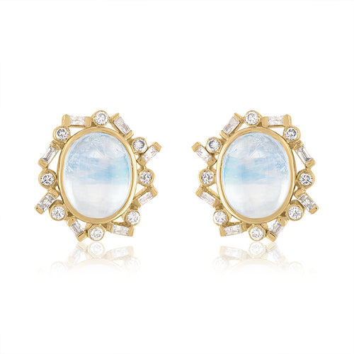 Moonstone and Diamond Stud Earrings