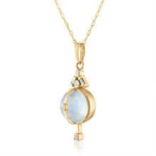 Moonstone pendant with Diamonds Side View