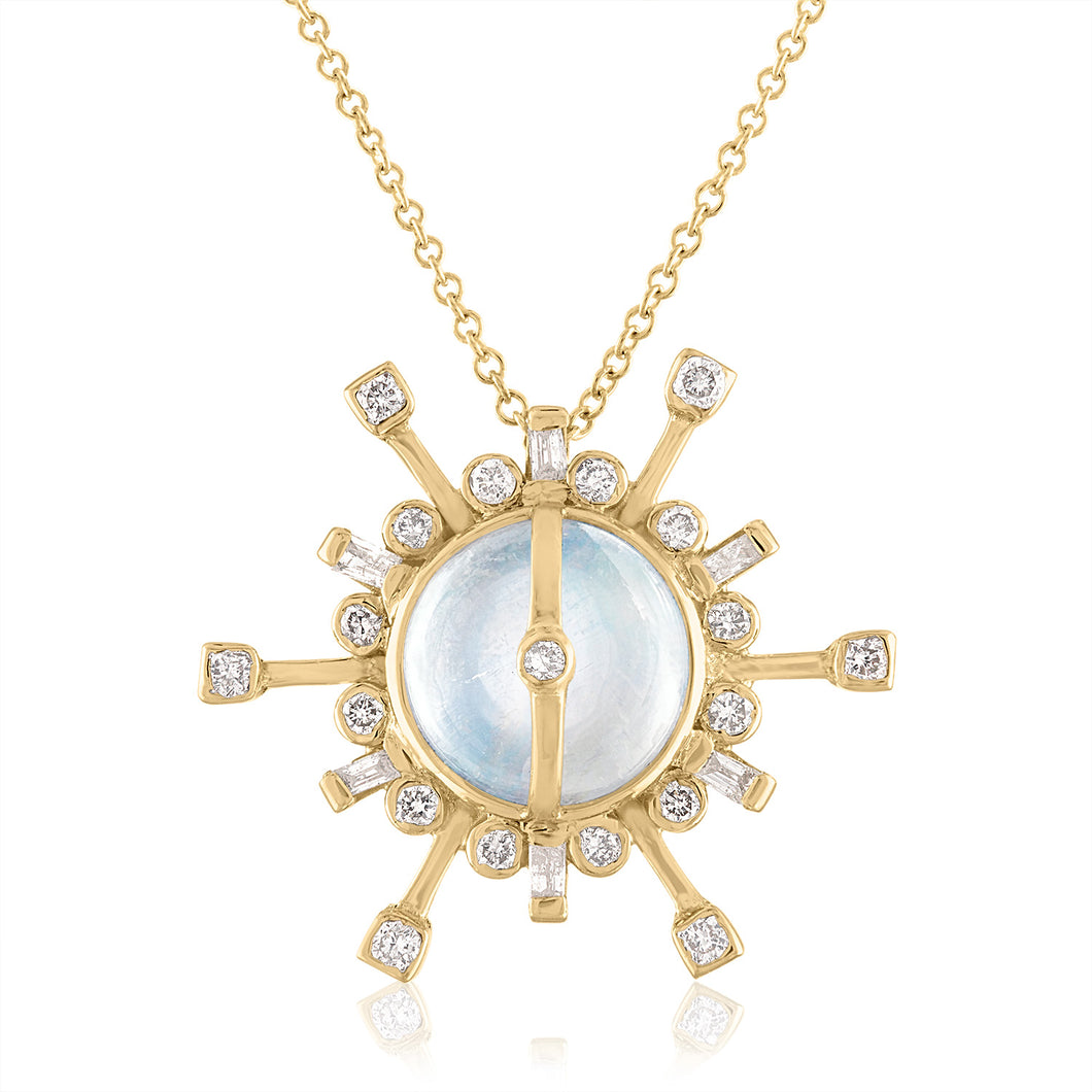 Moonstone and Baguette Pendant