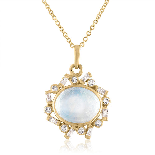 Round Moonstone and Diamond Pendant