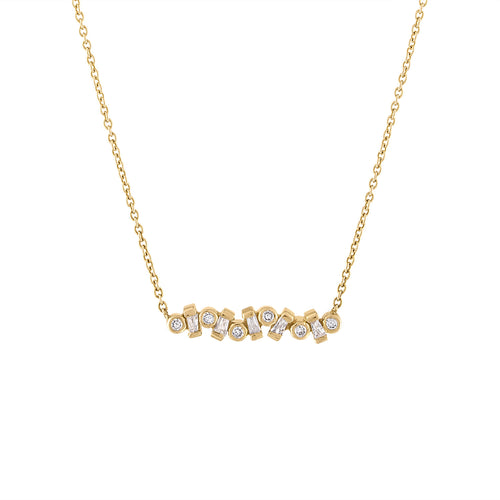 14K Pendant with Round and Baguette Diamonds
