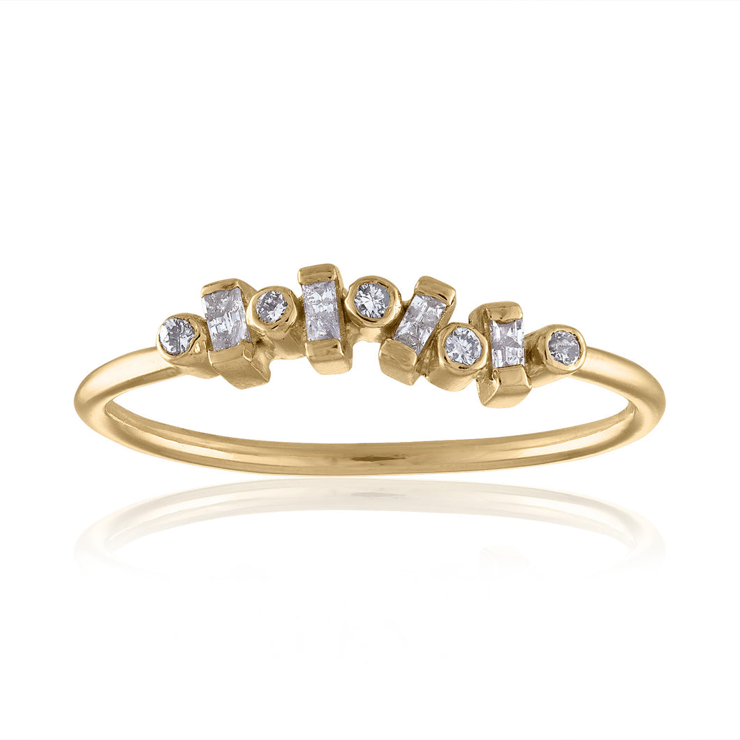 Confetti Simple Diamond Ring with Diamonds & 14k Gold