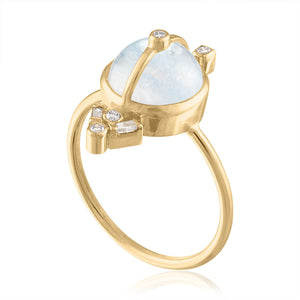 Moonstone Ring with Diamonds