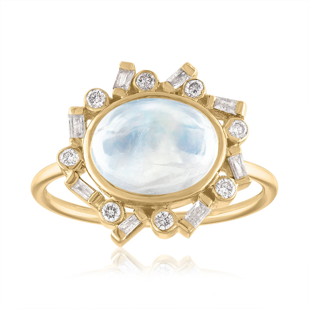 Oval Moonstone and Diamond Ring