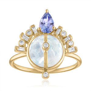 Moontone, Diamond and Tanzanite Ring