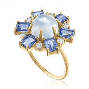 Moonstone Ring with Blue Sapphires and Diamonds