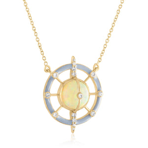 Galaxy Pendant Necklace with Ethiopian Opal, Enamel & Diamonds