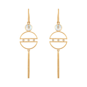 Harmony Symmetrical Geometric Shape Earrings with Moonstones & Diamonds by LORIANN Jewelry