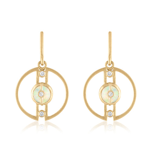 Petite Hoop Earrings with Ethiopian Opals and Diamonds