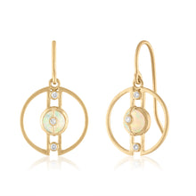 Petite Harmony Hoop Earrings with Ethiopian Opals, Diamonds & 14K Gold