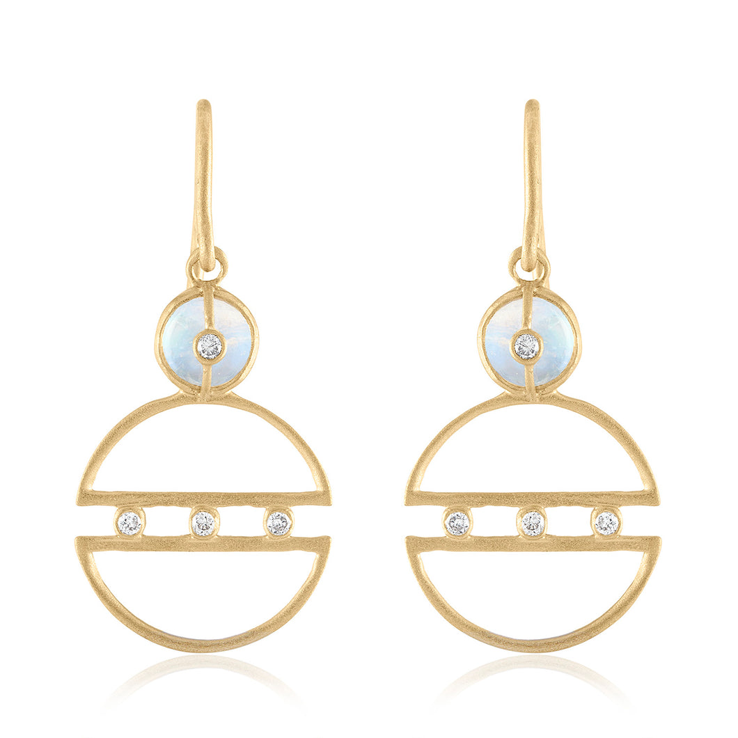 Petite Hoop Moonstone Earrings with Diamonds
