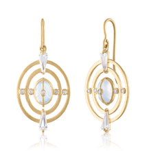 Harmony Earrings with Moonstone, White Topaz, Diamonds & 14k Gold