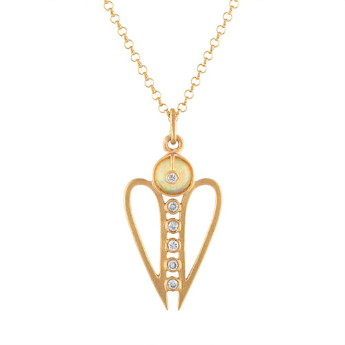 Harmony Symmetrical Heart Shape Pendant Necklace with Ethiopian Opal & Diamonds by LORIANN Jewelry