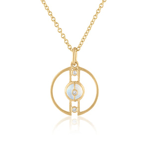 Petite Harmony Pendant with Moonstone, Diamonds & 14K Gold