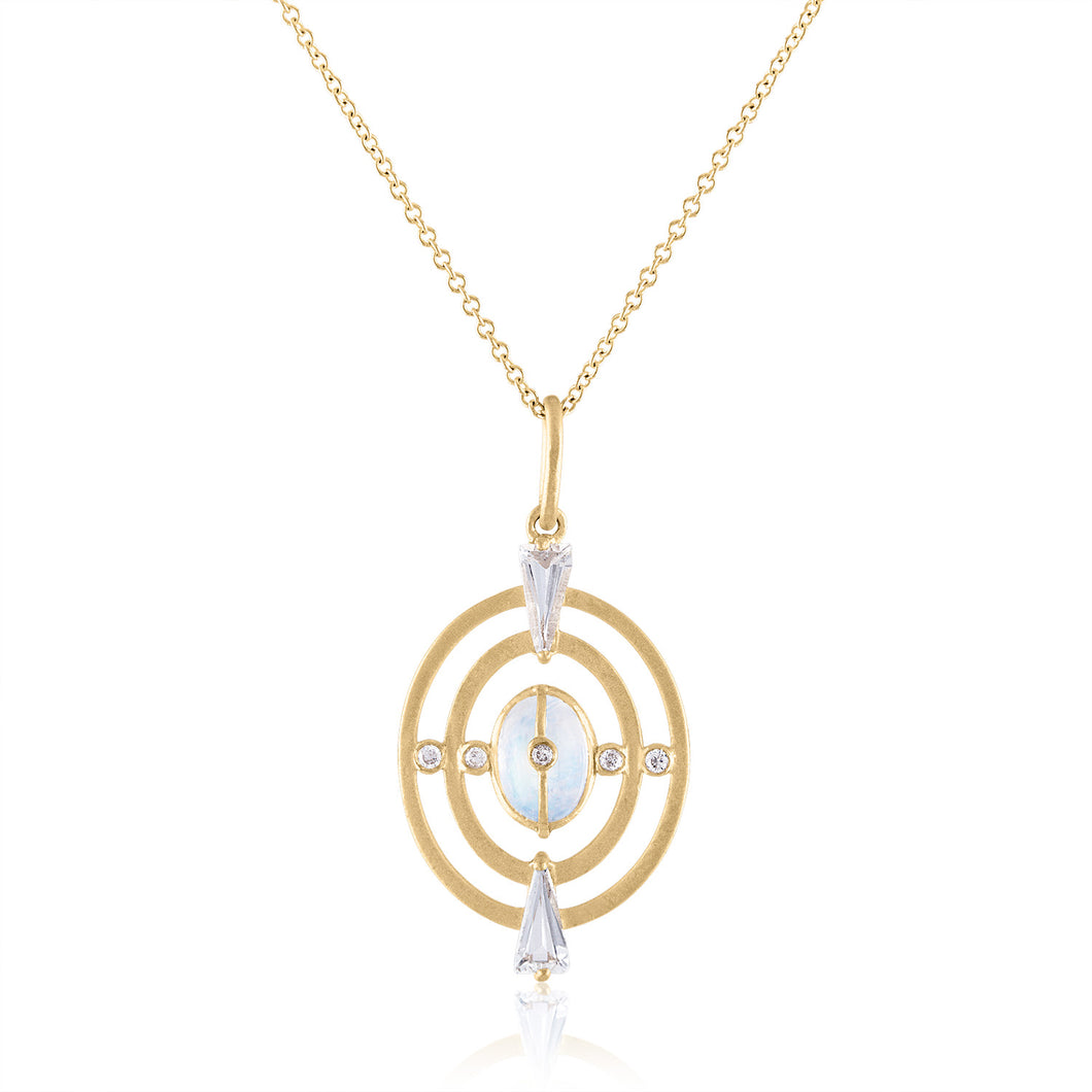 Harmony Pendant with Moonstone, White Topaz, Diamonds & 14k Gold