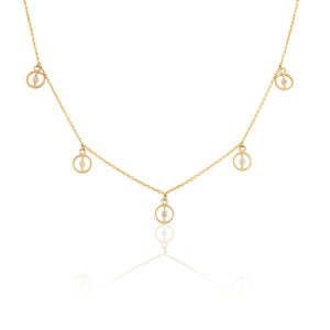 Gold and Diamond Dangle Necklace