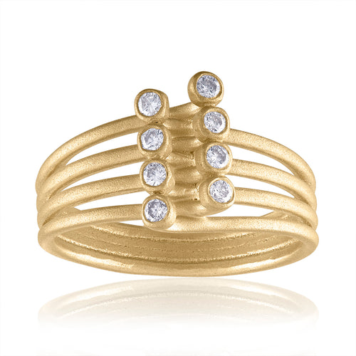 Harmony Linear Interconnecting Ring with Diamonds & 14k Gold by LORIANN Jewelry