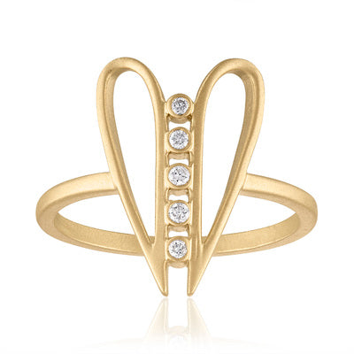 Harmony Heart Shaped Ring with Diamonds & 14K Gold