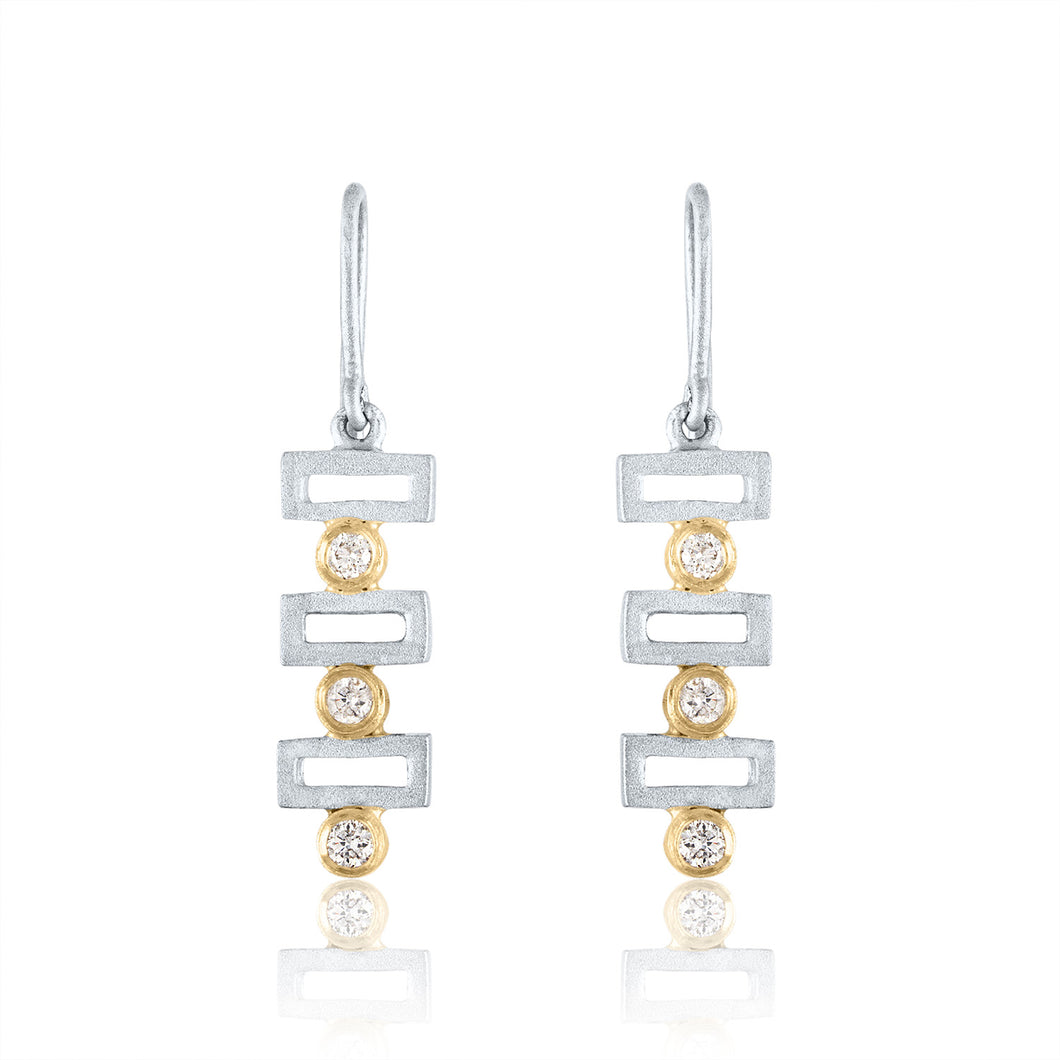 Small Linear Earrings with Diamonds