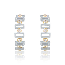 Rectangular Hoop Earrings with Diamonds