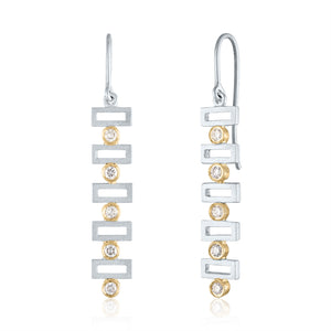 Rectangular Linear Earrings with Diamonds