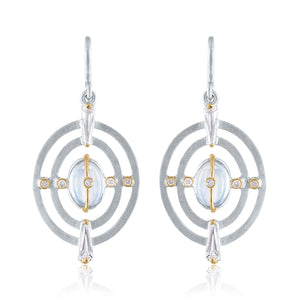 Harmony Earrings with Moonstone, White Topaz, Diamonds, White Rhodium, Silver & 14k Gold