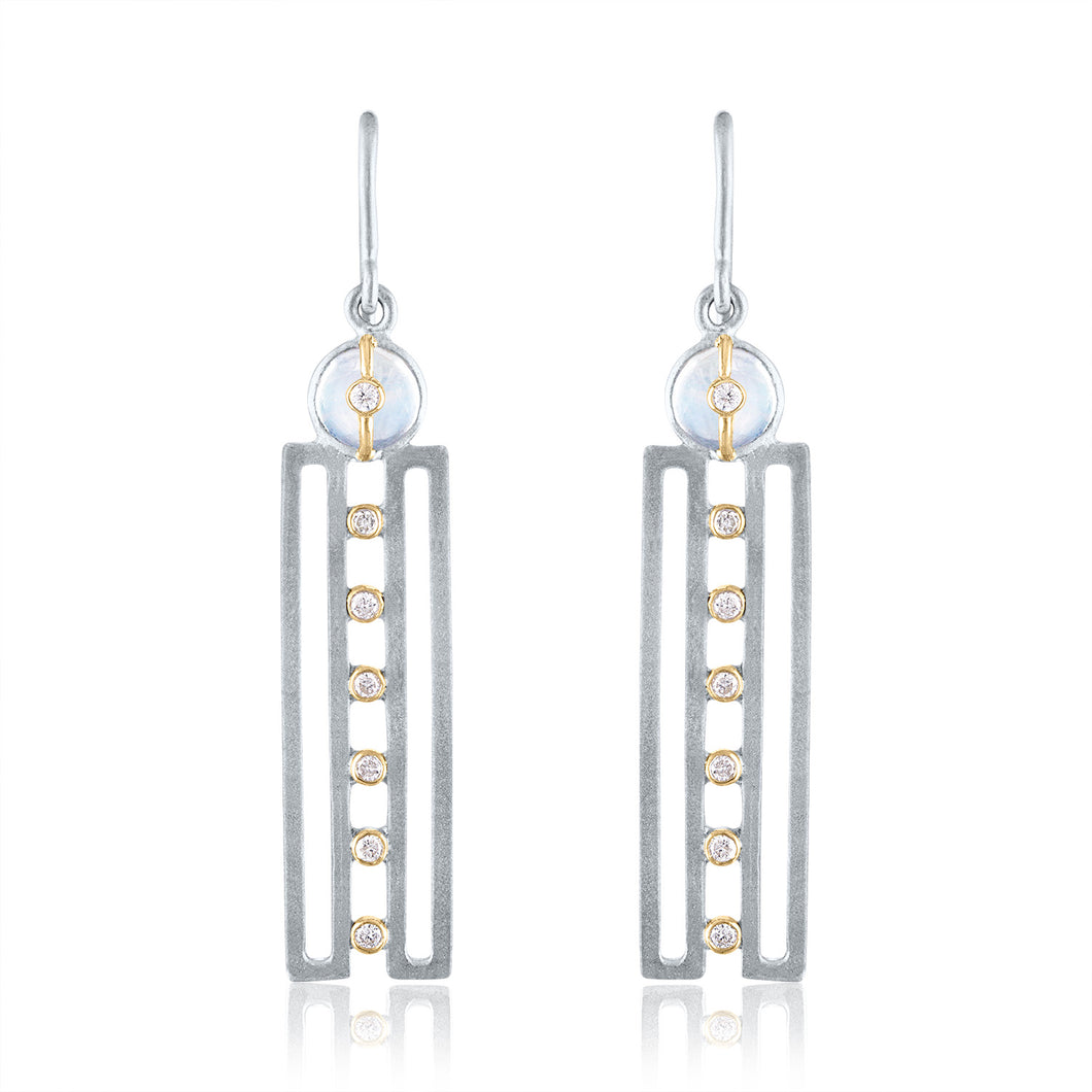 Harmony Earrings with Moonstones, Diamonds, Rhodium, Silver & 14k Gold