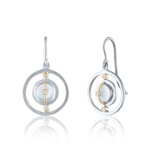 Petite Harmony Earrings with Moonstone, Diamonds, Rhodium, Silver & 14k Gold