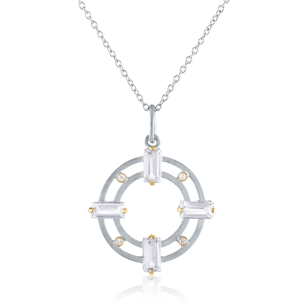 Harmony Pendant with White Topaz & Diamonds