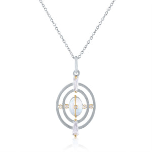 Harmony Pendant with Moonstone, White Topaz, Diamonds, White Rhodium Silver & 14k Gold