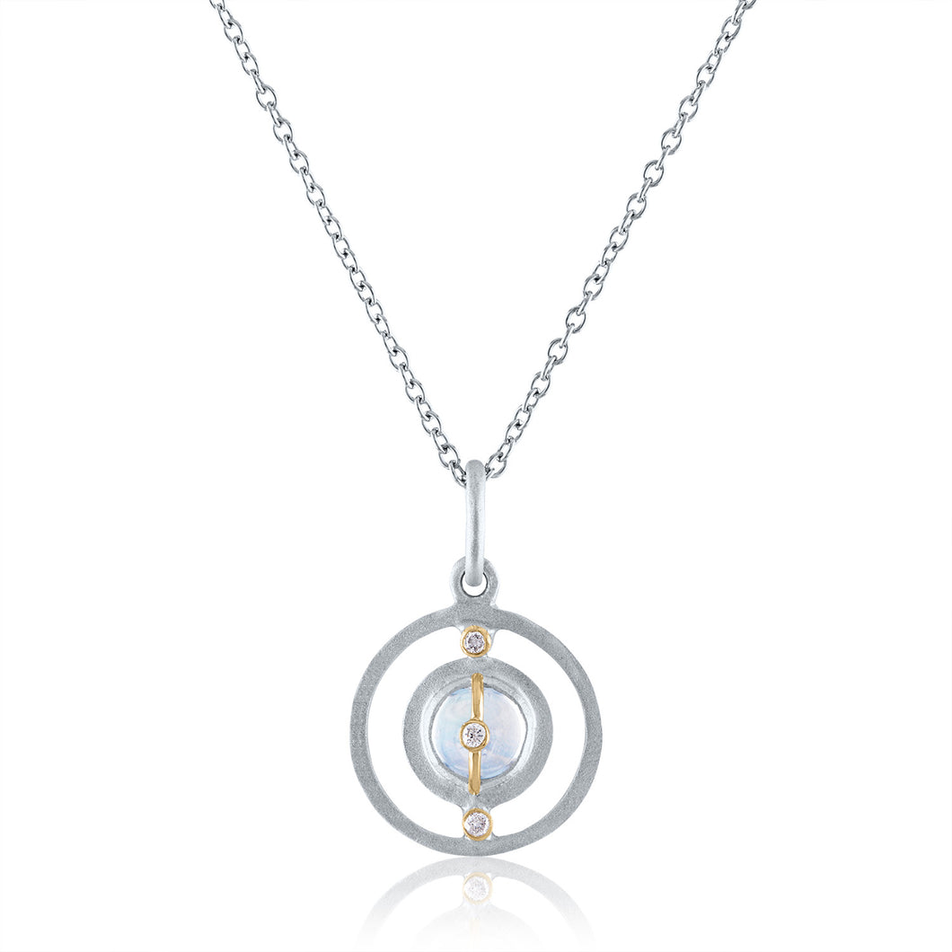 Petite Harmony Pendant with Moonstone, Diamonds, Rhodium, Silver & 14k Gold