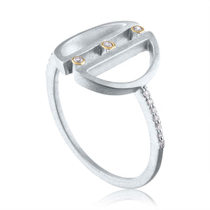 Harmony Ring with Diamonds, White Rhodium, Silver & 14k Gold